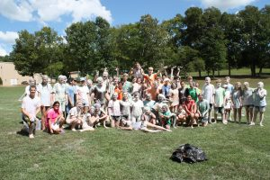 FCS students in 2016 following the annual flour war at King's Mountain Camp.